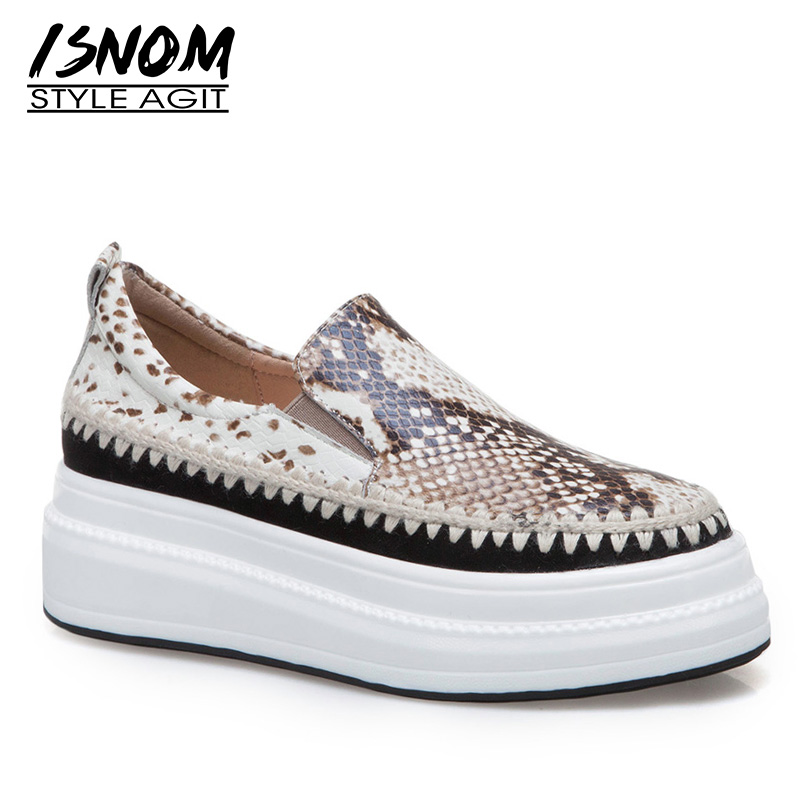 ISNOM Fashion Casual Flats Women Square Toe Footwear Snake Print Cow Leather Shoes Female Straw Weave