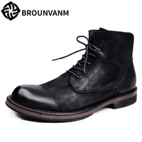 Martin Boots New Autumn Winter British Retro Men Shoes Zipper Leather Shoes Breathable Sneaker Fashion Boots