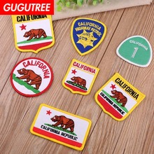GUGUTREE embroidery rhinoceros bear patches animal badges applique for clothing YX-303