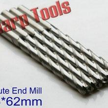 Гладкая 6*62 мм 3 рифленая Концевая фреза Биты карбида cnc Резец для древесины инструменты, длинный Карбид комплект концевой фрезы в инструментальном помолка, резка