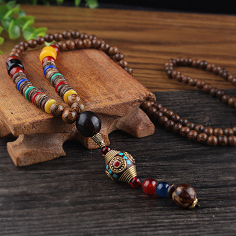 Vintage Nepal Long Buddhist Mala Wood Beaded Pendant & Necklace Ethnic Bohemian Boho Buddha Lucky Jewelry for Women Men
