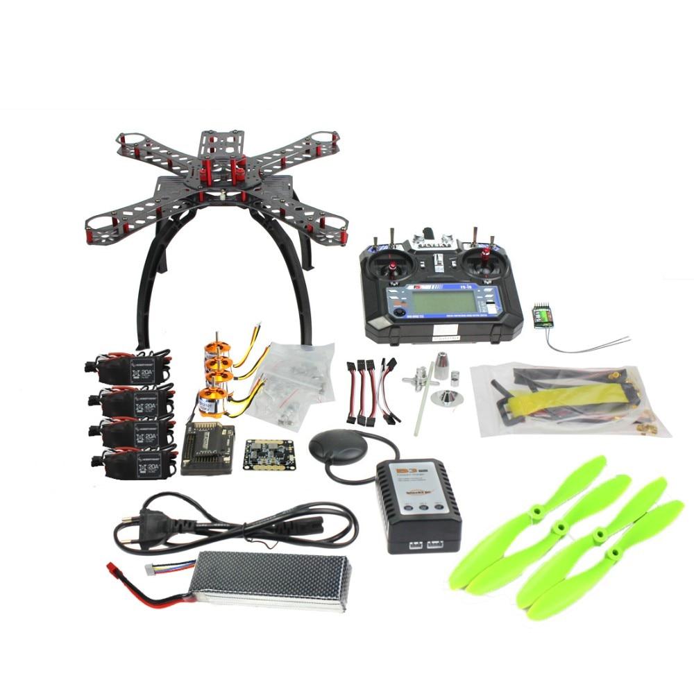 Full Kit DIY GPS Drone RC Fiberglass Frame Multicopter FPV APM2.8 1400KV Motor 20A ESC flysky 2.4GFS-i6 Transmitter F14891-B diy rc multicopter fpv apm2 8 gps drone x4m310l fiberglass frame kit 1400kv motor xt xinte 30a esc propeller f14891 a