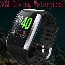 """חכם שעון IP68 עמיד למים 30 מטר עמוק צלילה חכם צמיד לב קצב דם לחץ כושר צג 1.3 """"SmartBand pk e18"""