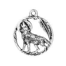 "DoreenBeads Zinc Based Alloy Pendants Charms Wolf Antique Silver Round Style Jewelry DIY Findings 25mm(1"") x 21mm( 7/8""), 4 PCs(China)"