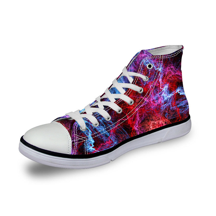 DAOKFPO Fashion Men Casual Galaxy Shoes Vulcanized High-Top Canvas Shoes,Male Flats Hand-painted Shoes Lace-up Shoes for Boy-02 все цены