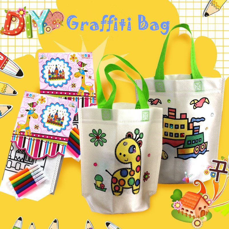 DIY Graffiti Handbag Kids Cloth Painting Bags Picture Coloring Drawing Toy Children Educational Craft Toy Non-woven Packing Bags