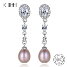 DOTEFFIL Earrings Natural Freshwater Pearl 925 Sterling Silver Zircon Long Section Earrings Pearl Jewelry Women Wedding/Party