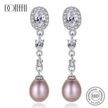 DOTEFFIL Earrings Natural Freshwater Pearl 925 Sterling Silver Zircon Long Section Earrings Pearl Jewelry Women Wedding/Party