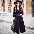 Dabuwawa invierno de dos colores de lana abrigo largo