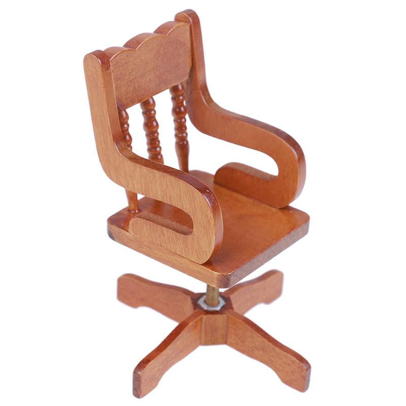1/12 Mini Puppenhaus Möbel Bett Set/Revolving Stuhl Miniatur Wohnzimmer Kinder Pretend Spielen Spielzeug Miniatur möbel Miniatur