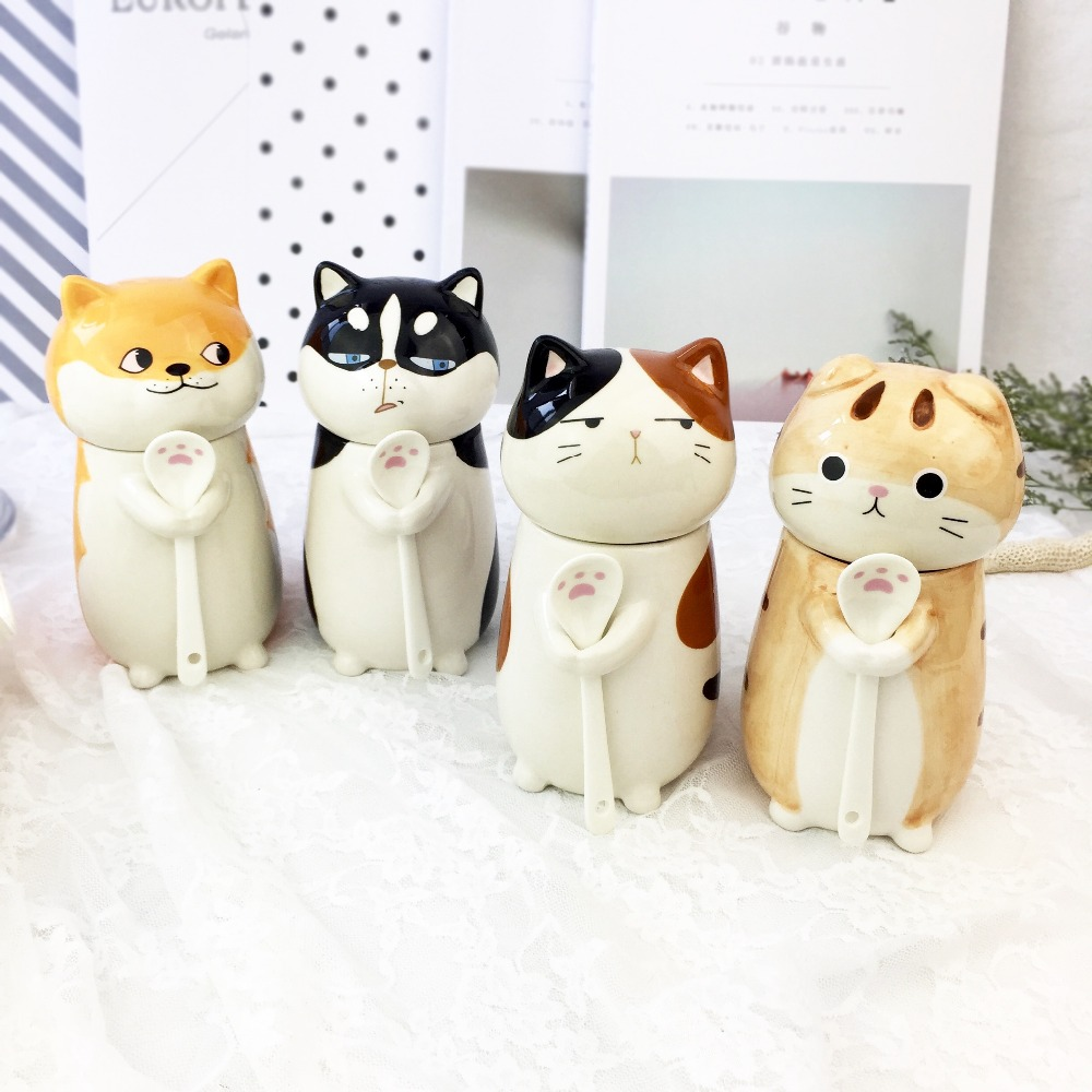 Cat Couple Cups Animals Cute Creative Ceramics Mugs Birthday presents with a lid of a spoon
