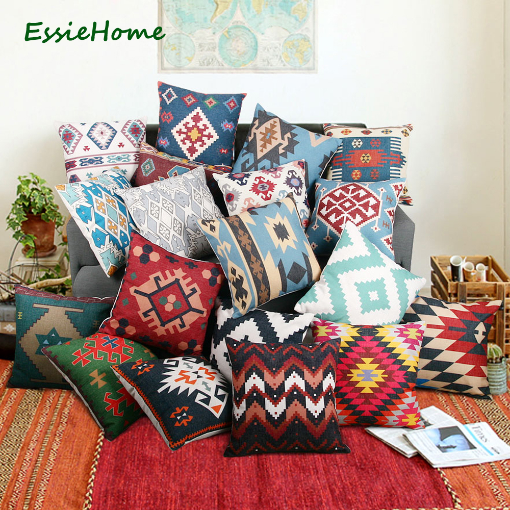 Outdoor Cushions Sofa Throw Pillow Cases Indistar Printed Killim Pillow Covers 16x16 Inches Decorative Boho Jute Pillow Shams