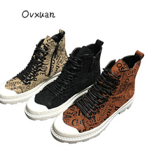 2019 Hot Sale New Fashion Top High Shoes Luxury Men Short Boots Spring Autumn Male Designer Casual Footwear