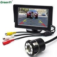 Einparkhilfe 4,3 Zoll TFT LCD Auto Rückspiegel Monitor + 8 LED Nachtsicht Auto Rück Rückfahrkamera