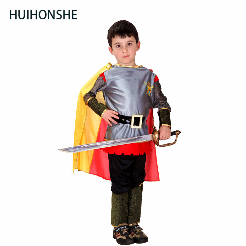 HUIHONSHE Roman Warrior Knight Children Cosplay Hallowean Carnival Party Boy Prince King Kids Costumes Masquerade Suit Prince