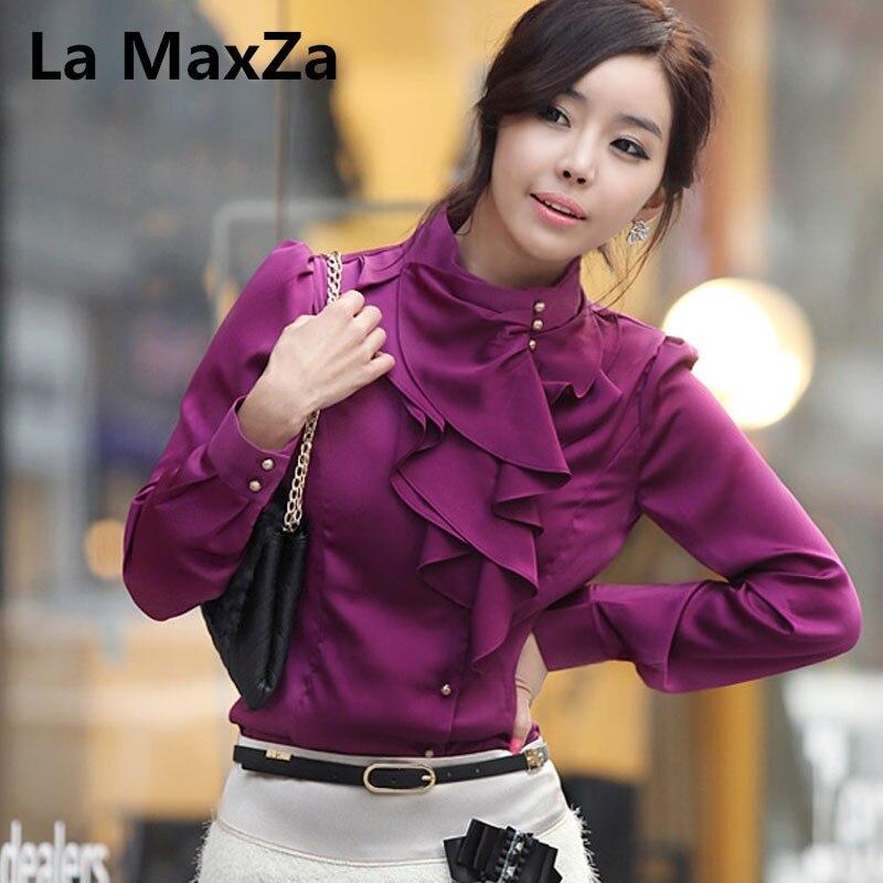 La MaxZa women lady shirts tops spring long sleeve faux silk ruffles blue purple blouse busniess girl OL shirt tunique femme