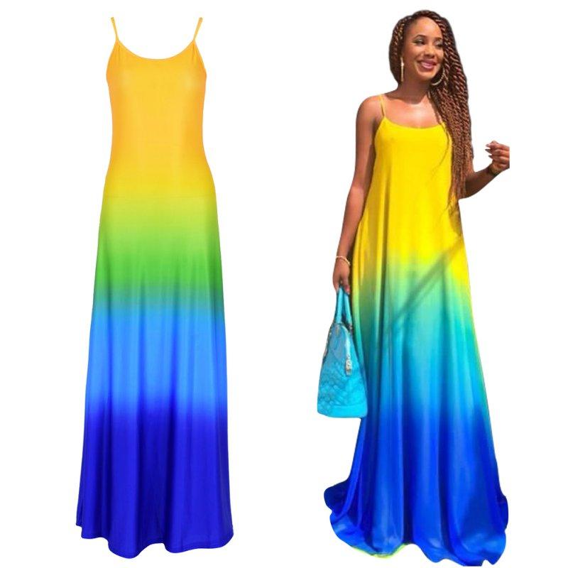 c72497174f4 2018 grande taille dégradé robes de soirée robe d été femmes bohème été  décontracté en