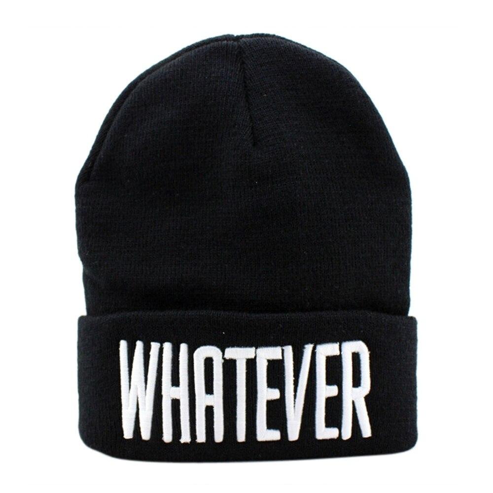 Fashion women men Knitting Hat casual Winter Black Whatever Beanie Hat wool hat female 2016 tiene sale #308 rwby letter hot sale wool beanie female winter hat men
