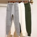 Pantalones de las mujeres 2016 Lanas de La Manera Caliente Peinada Regular Bolsillos Elásticos de La Cintura Nueva Visón Invierno Pantalones Pantalones Harlan Marea Gruesa Femenina