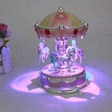 Модная детская красочная светящаяся музыкальная шкатулка карусель, Детские звуковые игрушки, музыкальная шкатулка, подарок на Рождество, день рождения