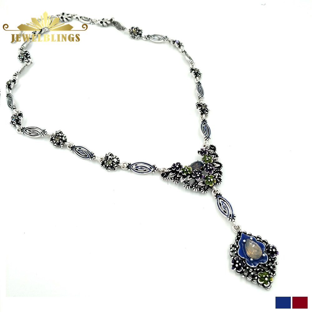 Antique Art Deco Blue Flower Drop Necklace Silver Tone Scroll Daisy Flower and Leaf Chain Floral Drop Necklace for Women Outfit stunning rhinestone water drop floral layered necklace for women
