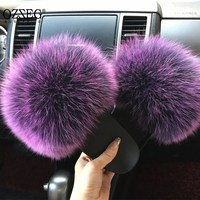 2018 hot Sale thickness bottom Women Fur Slippers Luxury Real Fox Fur Beach Sandal Shoes Fluffy Comfy Furry Flip Flops