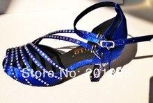 Wholesale Women Blue Satin Diamante Ballroom Latin Samba Salsa Ceroc Tango Line Dance Shoes Size 4,5,5.5,6,6.5,7,7.5,8,8.5,9,10