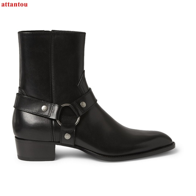 b563019be19 Fashion Men Short Boots Black Leather Silver Ring Buckle Male Ankle Boots  New Arrival Square Heel Office Formal Single Shoes