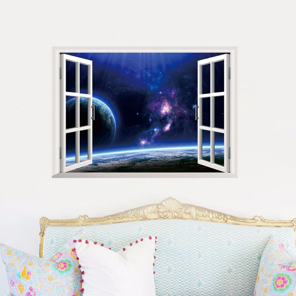 Design Outer Space Wall Decals aliexpress com buy home decors 3d fake window wall stickers outer space universe pattern for living room mural art 4868 cm de