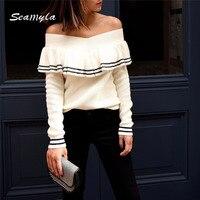 Seamyla Brand Quality Runway Shirt Women Sexy Slash Neck Long Sleeve Winter Shirts Elegant Celebrity Party