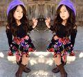 Baby Girl Dress Set 2015 Europe Girls Black Blouses&Flower Printed Skirt Suit Fashion Summer&Spring Girls Clothing Sets C25