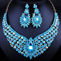 African Wedding Jewelry Gold Plated Full Rhinestones Necklace Earrings set for Women dubai Jewelry sets