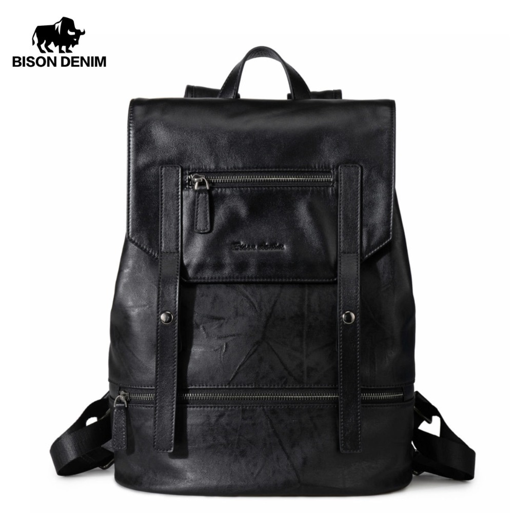 BISON DENIM Fashion Backpack for Teenagers Large Capacity Male 15 laptop Mochila Men Women Designer Backpacks
