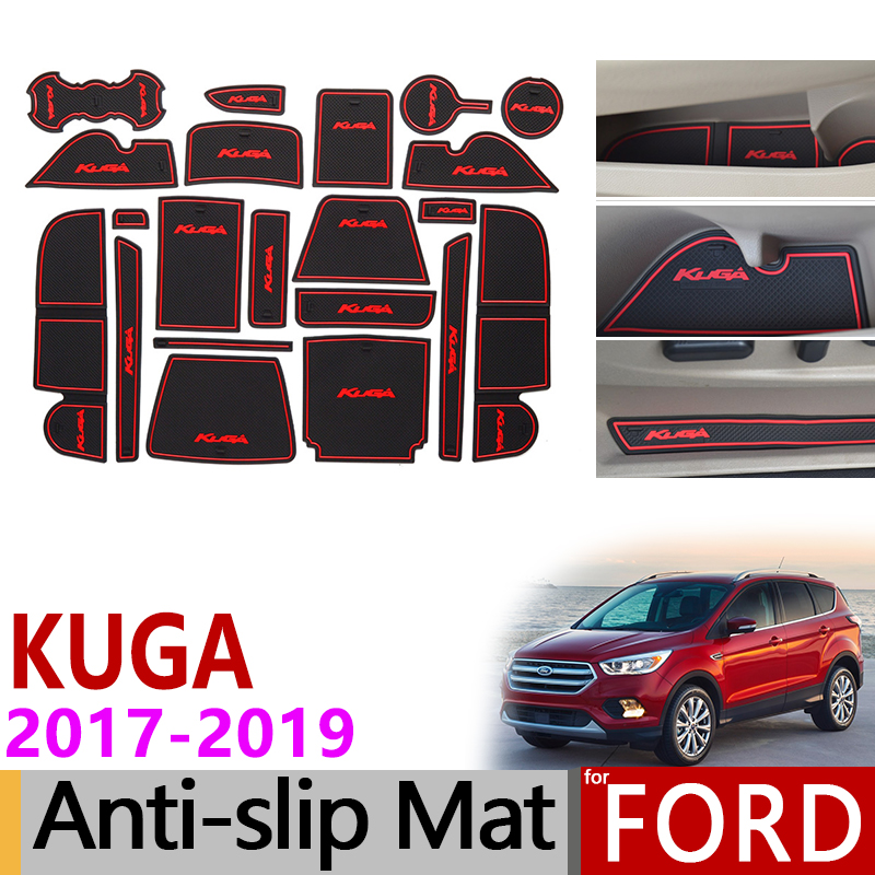 Anti-Slip Gate Slot Mat Rubber Coaster For Ford KUGA 2017 2018 2019 Ford Escape MK2 Facelift C520 Accessories Car Stickers 21Pc