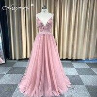 Халат De Soiree розовый жемчуг вечернее платье Спагетти ремень из бисера Цветы Вечеринка платье вечерние длинные платья Сексуальная спинки