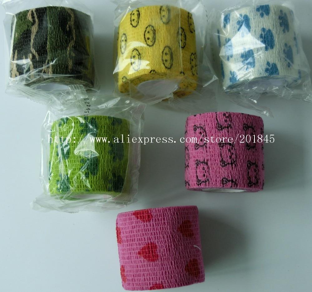 12Pcs/Lot 5cm x 4.5m Self Adhesive Flexible Bandage Nonwoven Cohesive Bandage Sports Tape Color Mixed Elastic Tape 5cm self adhesive bandage 100% cotton fitted sports bandage elastic tape medical