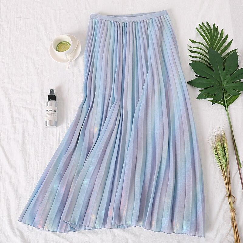 2019 Autumn  New Arrival Korean Style Rainbow Laser Design Sense Gradient Chiffon Skirt Vintage Pleated Skirt Free Shipping
