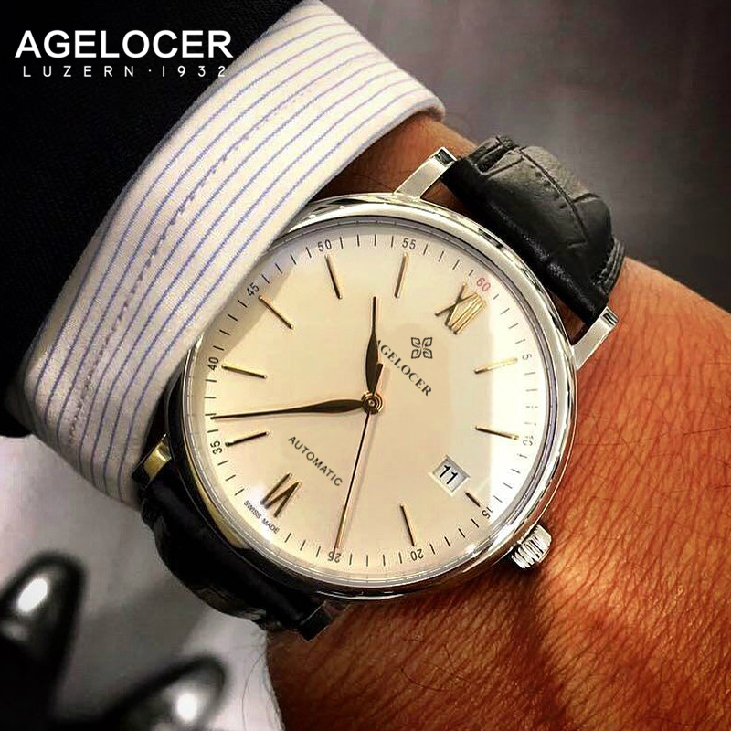 AGELCOER Swiss mechanical watch silver gold mesh band business men luxury brand