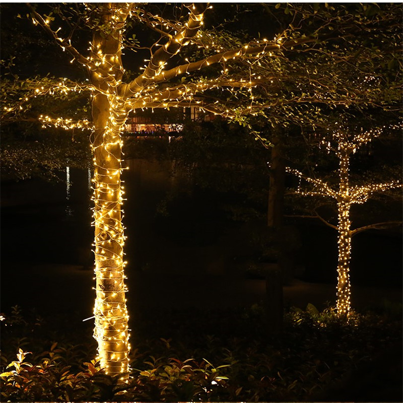 <font><b>10M</b></font> <font><b>100LEDs</b></font> String Lights LED Christmas Garland Decor for Street Trees Garden Park Party Wedding Outdoor Decoration EU US Plug image