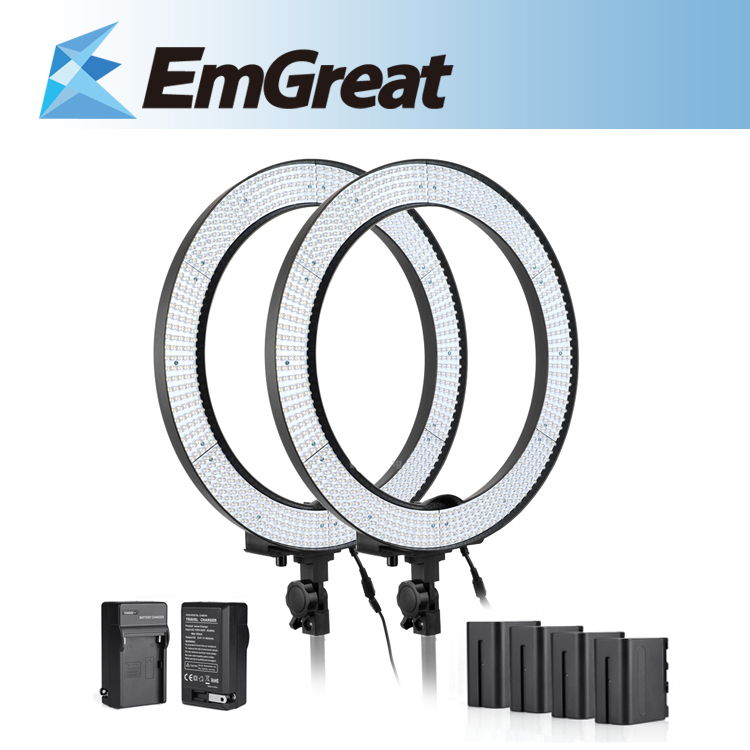 New Ring LED Video Light  600 Beads Stepless Adjustable Light w/ Diffuser Portrait Photography + Battery Pack + Battery Charger falconeyes super power 630 led ring light video light battery pack mv ad2 np f970 battery holder light stands