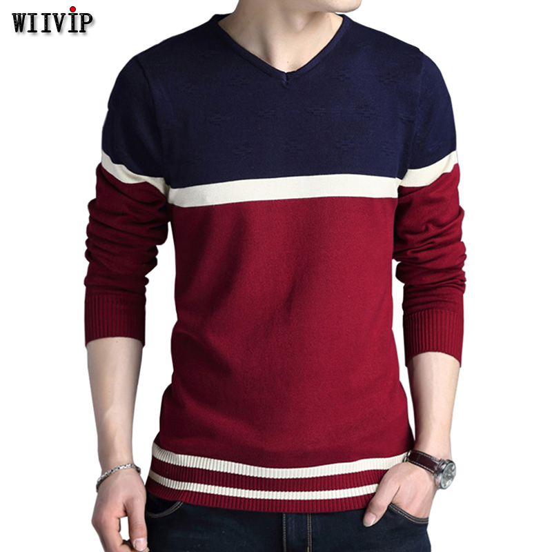 Flash Deal Man Fashion Striped V-Neck Warm Winter Casual Sweater Pullover For Lucky You H0003
