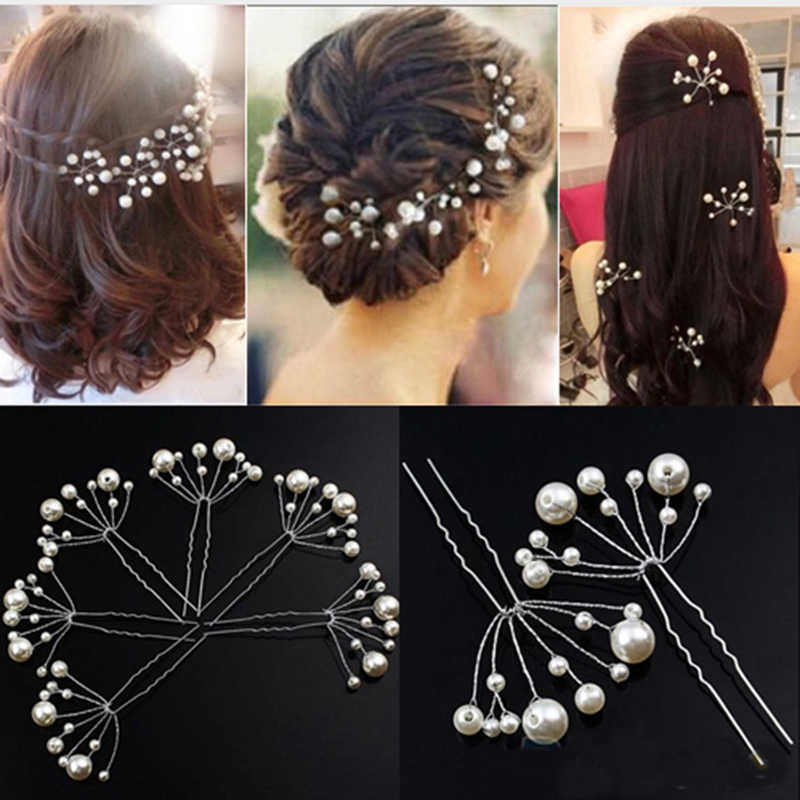 1Pcs Simulate Pearl Hairpins Hairstyles Wedding Bridal Hair Pins Hair Jewelry Accessories Hairwear Girls Hair Clips For Women