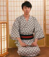 Japan Kimono suit Traditional Kimono with Obi Belt Men Cotton Bath Robe Yukata Male Kimono Sleepwear cosplay Costumes A60610