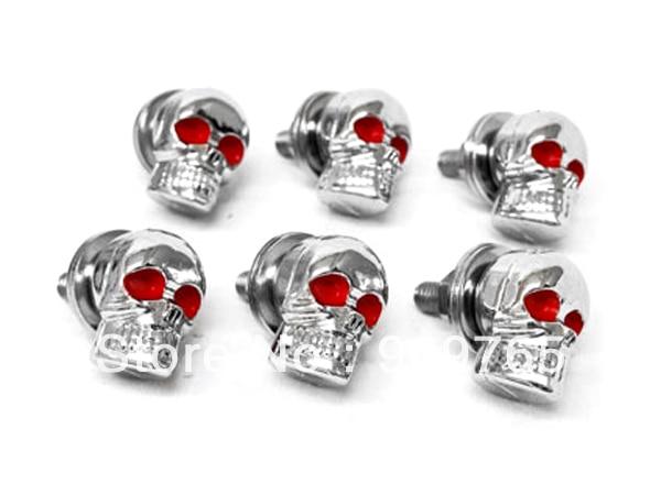 6 Pcs Skeleton Skull Bolt Nuts Screws For Harley Road King Softail FXSTI Custom Honda VF Magna 500 700 750 1100 VT Shadow Ace GL