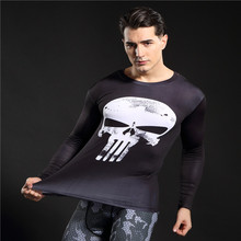 Punisher 3d camisetas impresas hombres de compresión camisas manga larga cosplay clothing crossfit gimnasio tops mujer negro Viernes