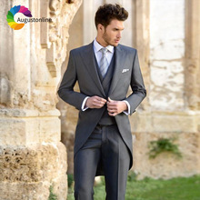 Grey Men Suits Tailcoat Wedding Bridegroom Custom Slim Fit Groom Tailored Tuxedo Best Man Gentleman Costume Homme 3 Pieces