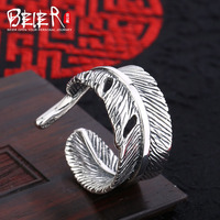 Beier New Store100 925 Silver Sterling Feather Open Ring For Women Men High Quality Fine Jewelry