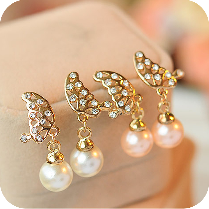 6 Crystal Pearl Photo Picture Frame Diamond Bowknot: OMH Wholesale 12pair OFF 16%= $1.03/pair EH25 Full Crystal