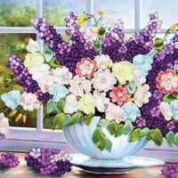 57X50cm Purple lavender vase needlework DIY 3d cross stitch kit Unfinished Ribbon embroidery paintingtitching craft gift