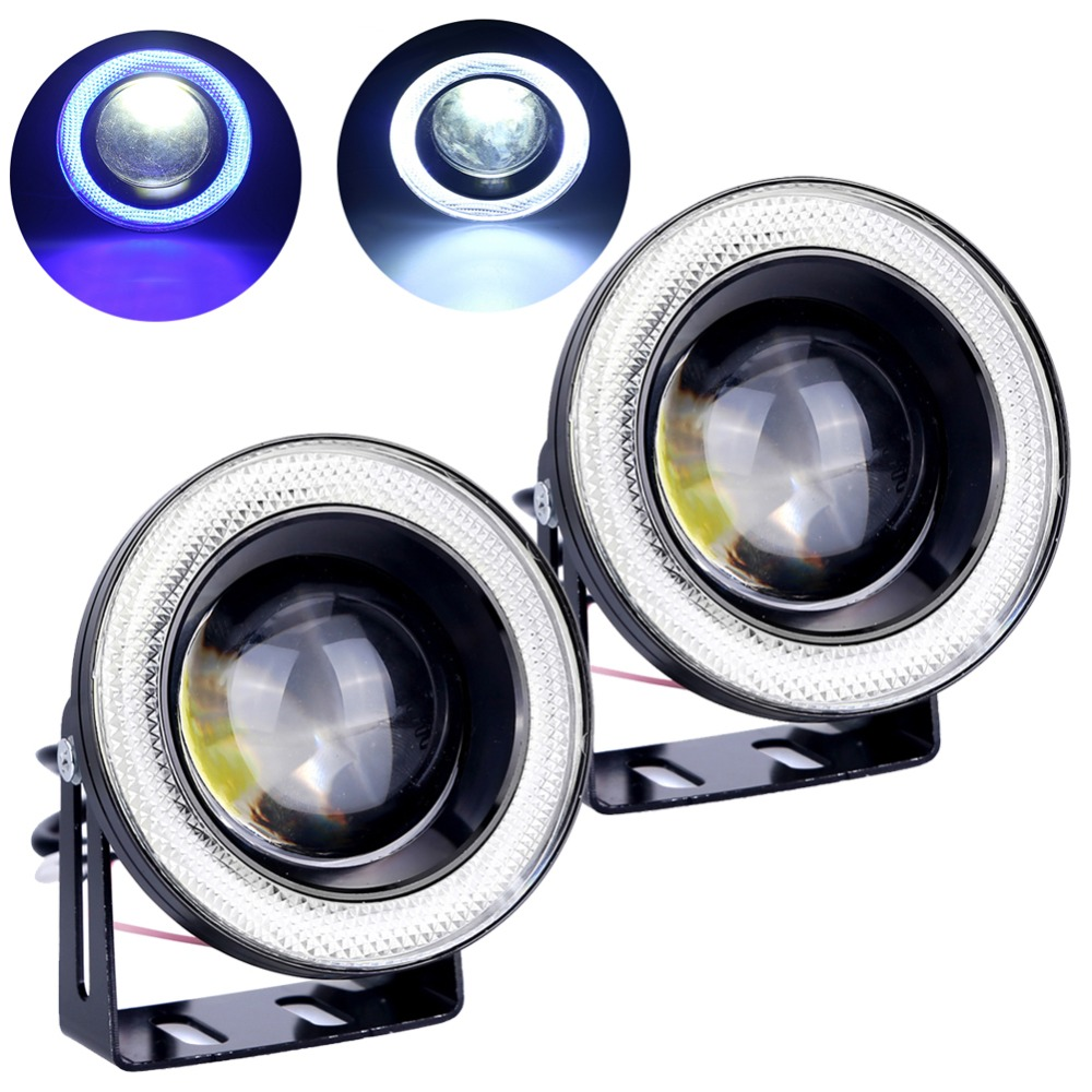 2pcs Waterproof Projector LED Fog Light With Lens Halo Angel Eyes Rings COB 30W Xenon 12V Fog Lamp White Blue Yellow Red